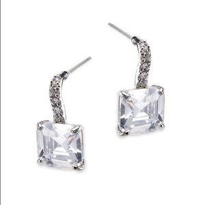 Kenneth Jay Lane princess cut CZ drop earrings